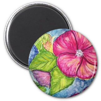 Hibiscus Fantasy Watercolor 2 Inch Round Magnet