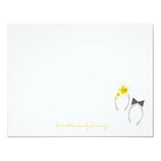 Hibiscus Flip Flops Beach Wedding Thank You Card