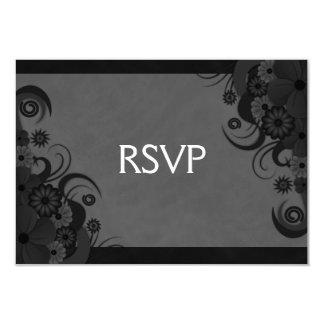 Hibiscus Floral Black Gothic RSVP Response Card Custom Invitations
