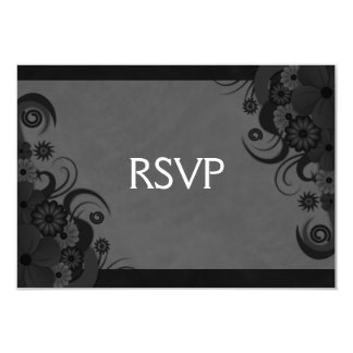 "Hibiscus Floral Black Gothic RSVP Response Card 3.5"" X 5"" Invitation Card"
