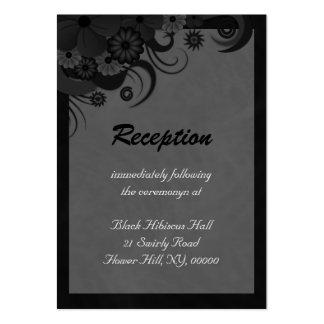 Hibiscus Floral Black Wedding Reception Enclosure Business Card
