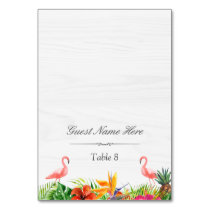 Hibiscus Floral Flamingo Wedding Place Escort Table Number