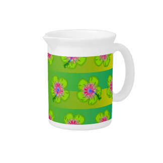 Hibiscus floral pattern beverage pitcher