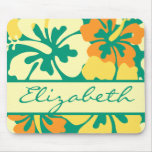 Hibiscus Floral Pattern Monogram Mouse Pad