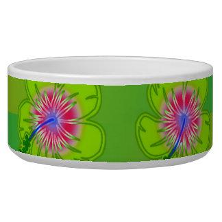 Hibiscus floral pattern pet bowls