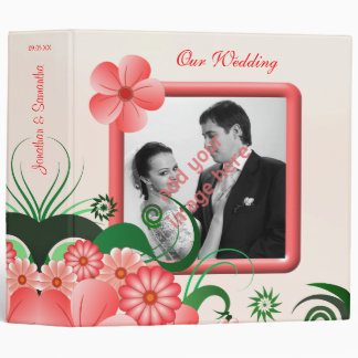 "Hibiscus Floral Pink 2"" Wedding Guest Book Album 3 Ring Binder"