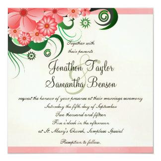 """Hibiscus Floral Pink 5.25"""" Square Wedding Invites"""