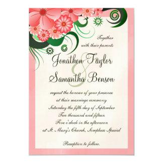"Hibiscus Floral Pink 5"" x 7"" Wedding Invitations"