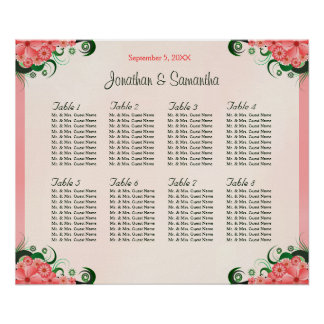 Hibiscus Floral Pink 8 Wedding Table Seating Chart Poster