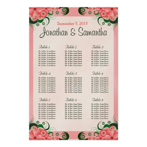 Hibiscus Floral Pink 9 Table Wedding Seating Chart