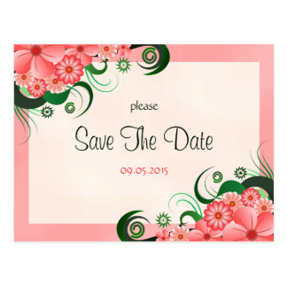 Hibiscus Floral Pink Custom Save The Date Card