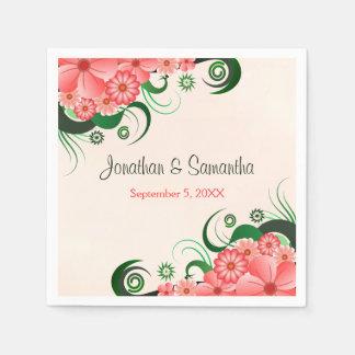 Hibiscus Floral Pink Custom Wedding Paper Napkins