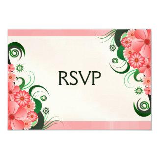 Hibiscus Floral Pink Elegant RSVP Response Card Invites