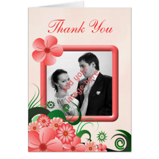 Hibiscus Floral Pink Photo Wedding Thank You Card