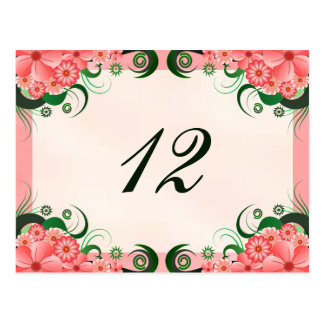 Hibiscus Floral Pink Reception Table Number Cards