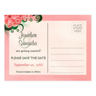 Hibiscus Floral Pink Save The Date Postcards