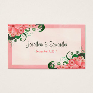 Hibiscus Floral Pink Wedding Favor Favour Tags