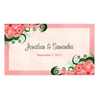 Hibiscus Floral Pink Wedding Favor Favour Tags Business Card