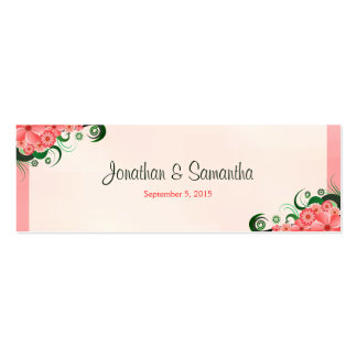 Hibiscus Floral Pink Wedding Favour Favor Tags Double-Sided Mini Business Cards (Pack Of 20)