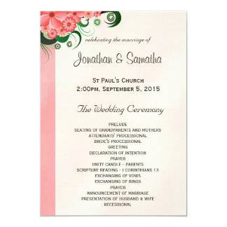 "Hibiscus Floral Pink Wedding Program Templates 5"" X 7"" Invitation Card"