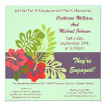 """Hibiscus Floral Tropical Wedding Engagement Party 5.25"""" Square Invitation Card"""