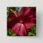 Hibiscus Flower and Blue Sky Summer Nature Photo Button