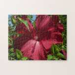 Hibiscus Flower and Blue Sky Summer Nature Photo Jigsaw Puzzle