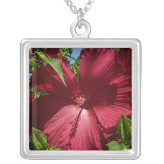 Hibiscus Flower and Blue Sky Summer Nature Photo Silver Plated Necklace