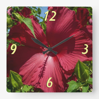 Hibiscus Flower and Blue Sky Summer Nature Photo Square Wall Clock