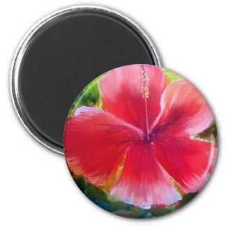 Hibiscus Flower Art 2 Inch Round Magnet