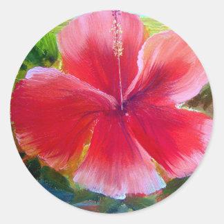 Hibiscus Flower Art Classic Round Sticker