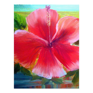 Hibiscus Flower Art Personalized Letterhead