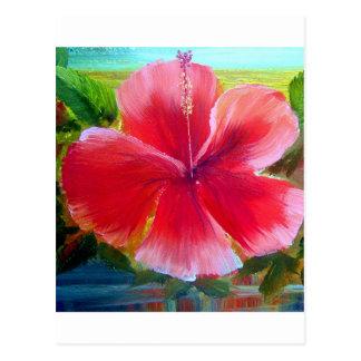 Hibiscus Flower Art Postcard