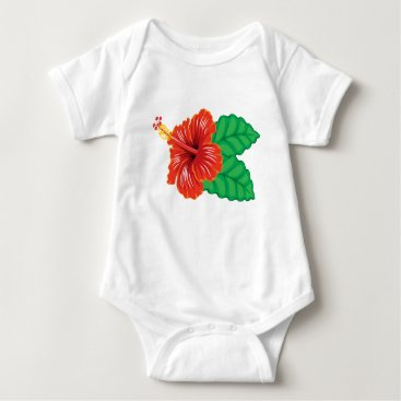 Beach Themed Hibiscus Flower Baby Bodysuit