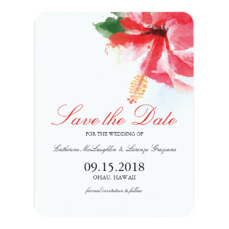 Hibiscus Flower Breeze Watercolor | Save the Date 4.25x5.5 Paper Invitation Card
