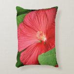 Hibiscus Flower Bright Magenta Floral Decorative Pillow