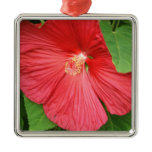 Hibiscus Flower Bright Magenta Floral Metal Ornament