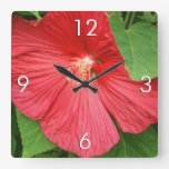 Hibiscus Flower Bright Magenta Floral Square Wall Clock