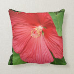 Hibiscus Flower Bright Magenta Floral Throw Pillow