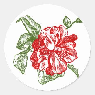 Hibiscus flower classic round sticker