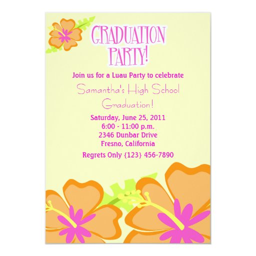 Hibiscus Flower Graduation Party Invitation Yellow