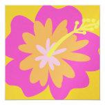 """Hibiscus Flower Invitation 5.25"""" Square Invitation Card"""