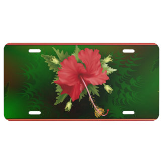 Hibiscus Flower License Plate