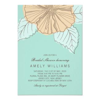 "Hibiscus Flower Mint Bridal Shower Invitation 5"" X 7"" Invitation Card"