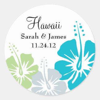 Hibiscus Flower Monogram Wedding Round Sticker