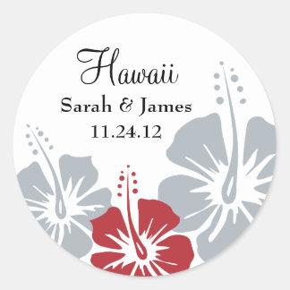 Hibiscus Flower Monogram Wedding Round Stickers
