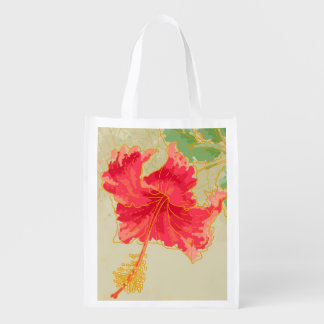 Hibiscus flower on toned background grocery bag