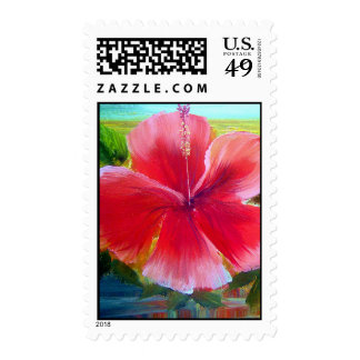 Hibiscus Flower Painting Postage Stamps