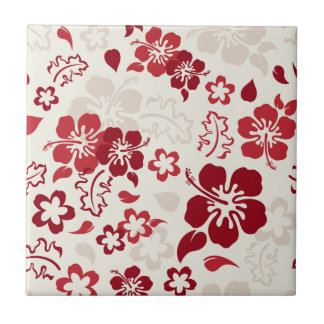 Hibiscus Flower Pattern Ceramic Tile