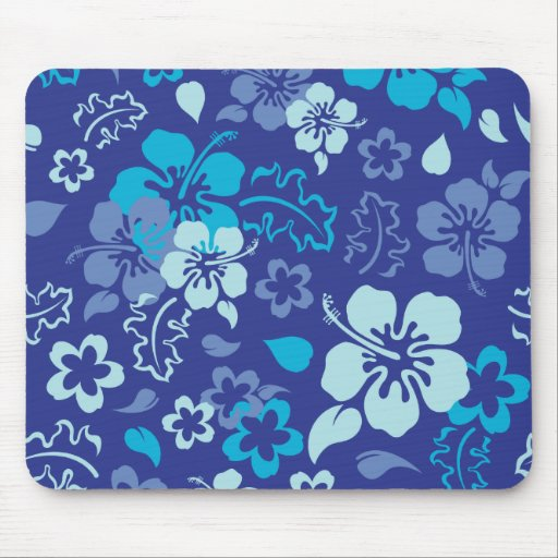 Hibiscus Flower Pattern Computer Mousepad